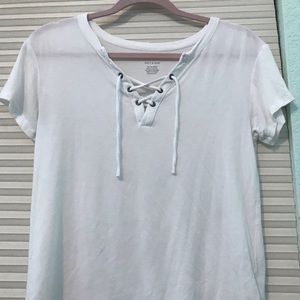 Soft White Laced-Up American Eagle Tee
